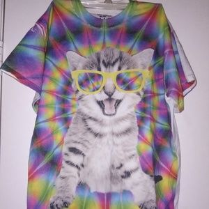 Psychedelic Cat T shirt size (M) By Gildan